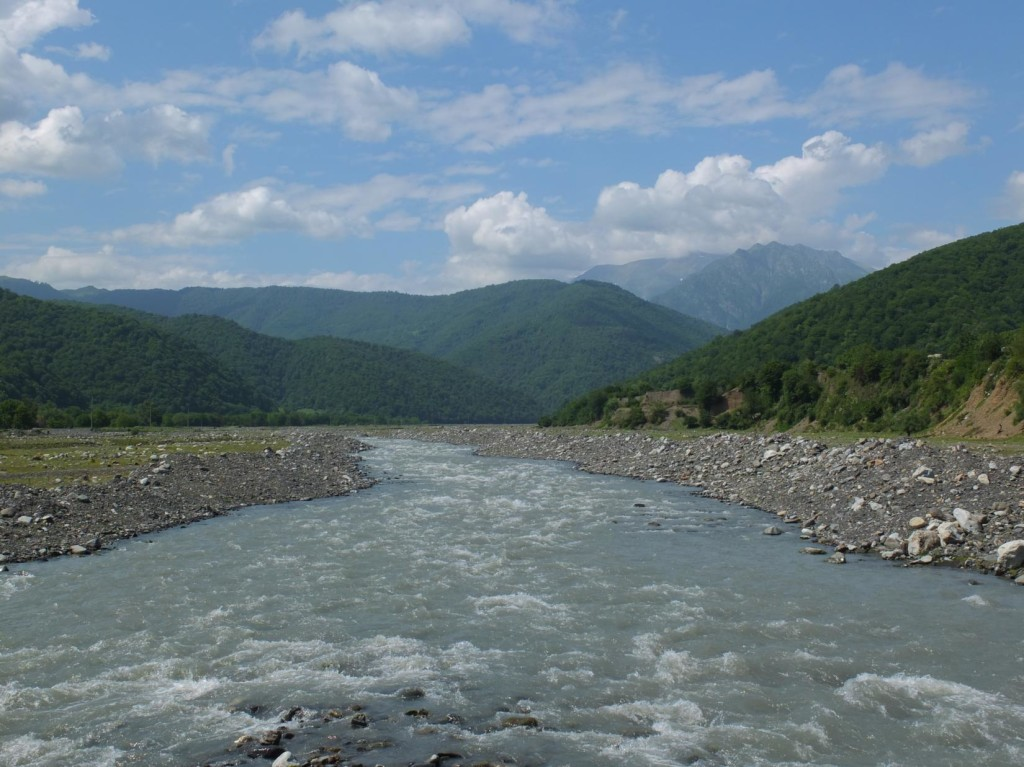 Alazani River from blue bridge towards Tusheti