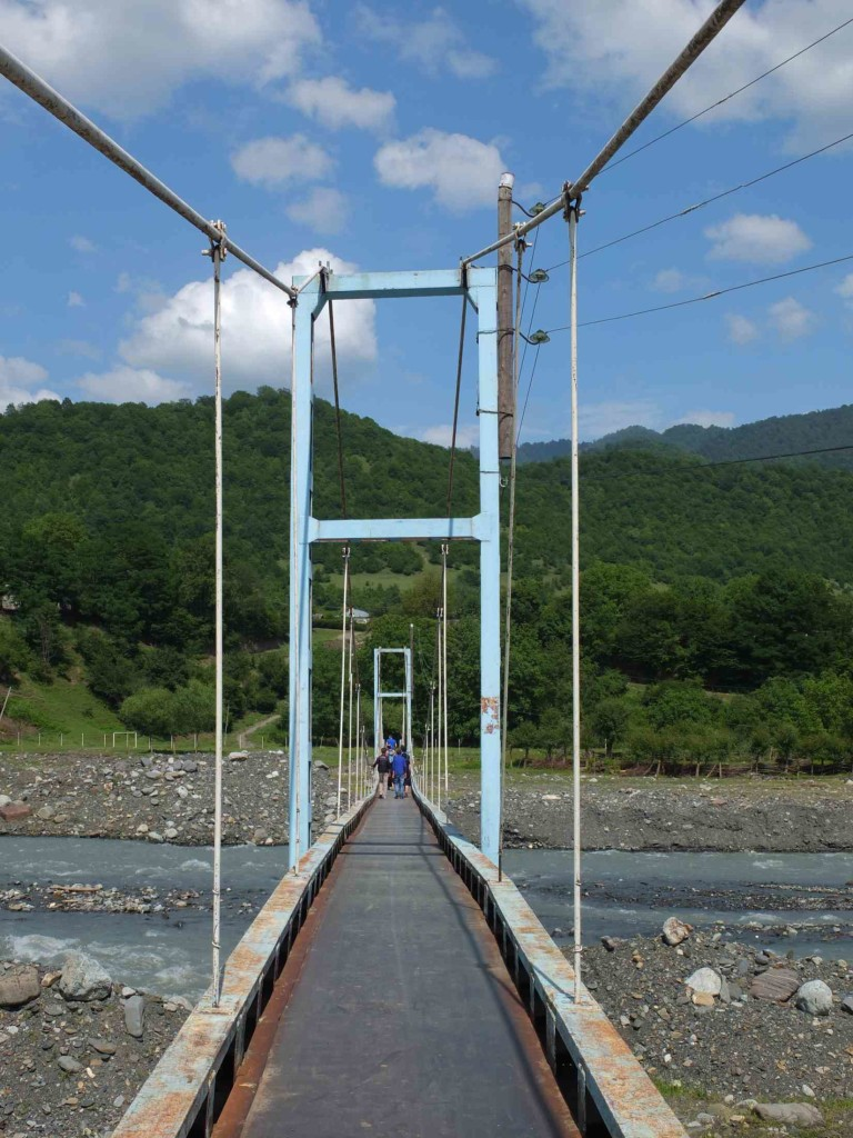 Blue metal bridge from Birkiani to Omalo