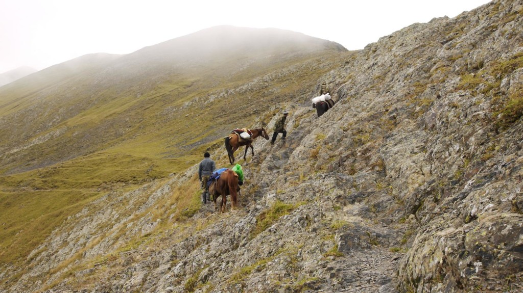 Trail over rocky summits in Tusheti