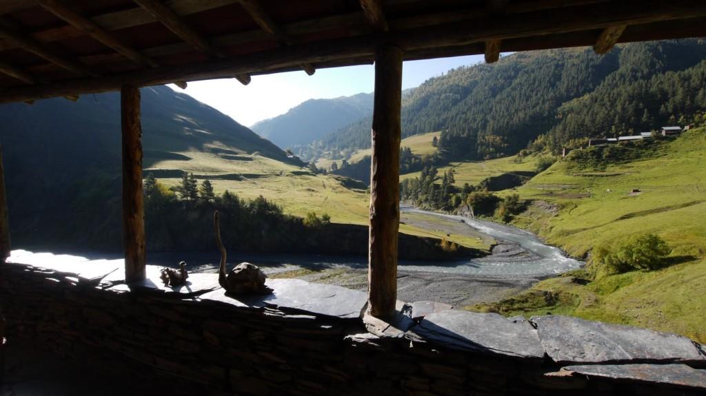View of Tusheti Alazani River from Guest House Sargiri in Alisgori Gometsari Valley