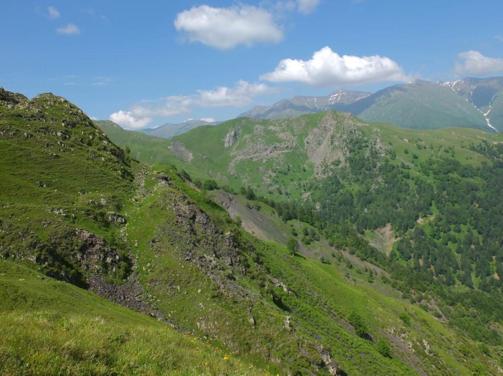 View of Tusheti High Caucasus mountains from Tbatana