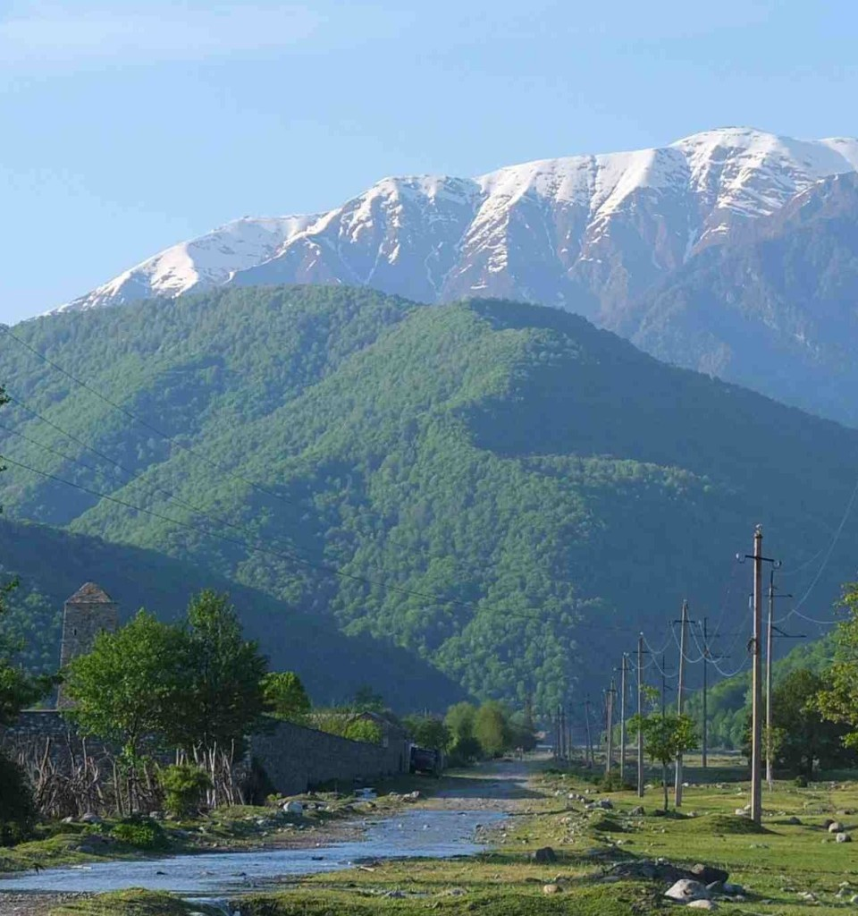 View of High Caucasus mountain range from Jokolo